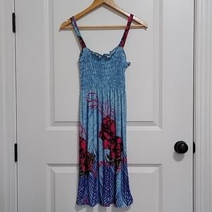 Midi Floral Boho Dress Sz Med